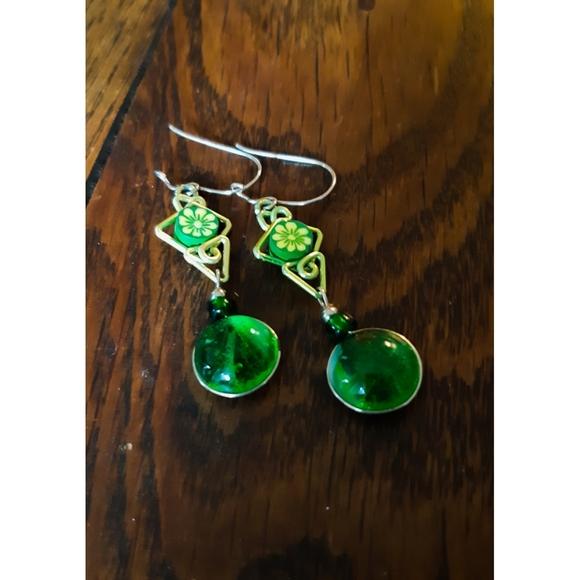 Vintage Jewelry - Boho Gypsy Green Earrings